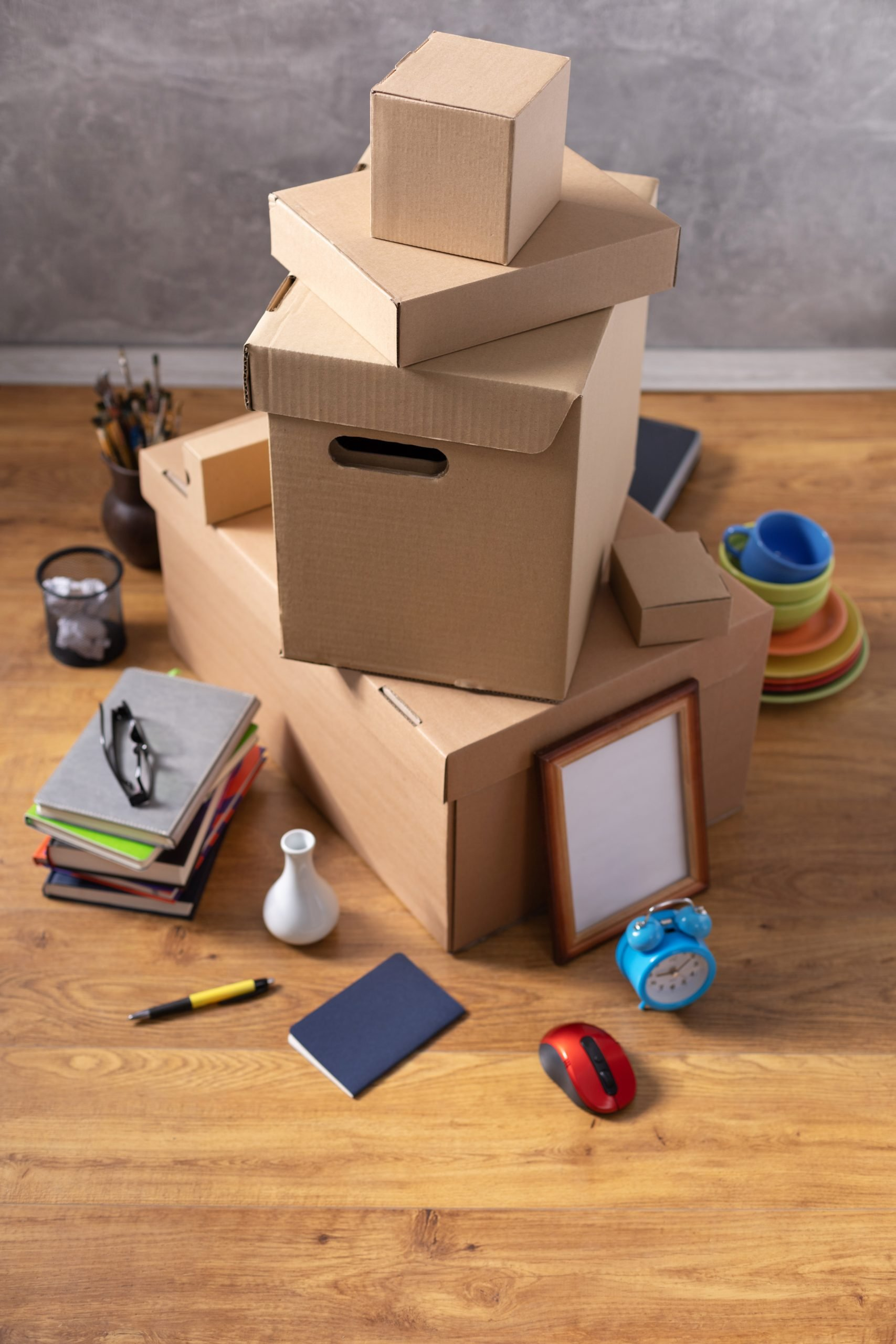 collection of cardboard boxes for a student who is moving